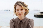 Portrait of actress, Mia WASIKOWSKA at beach during Cannes Film Festival, 2011, France